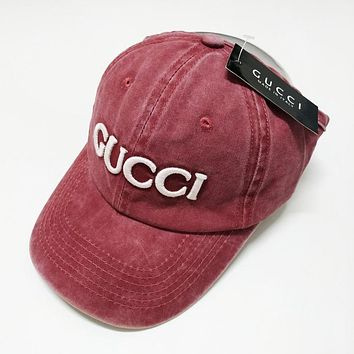 GUCCI Summer Women Men Cool Embroidery Sports Sun Hat Baseball Cap Hat Red