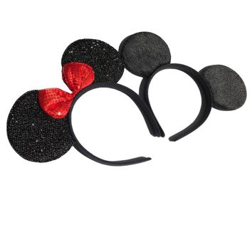12pcs Hair Accessories  Minnie/Mickey Ears Solid Black & Red sequins Bow Headbands for Boy Girl Birthday Party Celebration