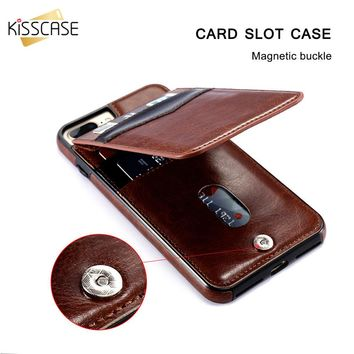 KISSCASE Vertical Flip Card Holder Leather Case For iPhone 6 6s 7 Plus Retro Cover Bag Case For iPhone 8 Plus X 10 Wallet Pouch