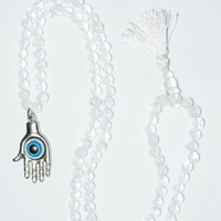 108+1 MALA BEADS HIMALAYAN QUARTZ CRYSTAL JAPAMALA HAMSA PENDANT NECKLACE