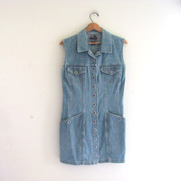 Vintage Levi's Blue Denim Jean Jumper Dress with snaps / size L