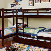 Maddox Twin Size L-Shape Quadruple Bunk Bed