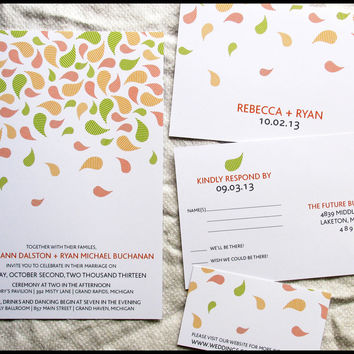 Falling Leaves Modern Wedding Invitation Set by RunkPock Designs : Fall Autumn Striped Leaf Design shown in Lime Green / Yellow / Orange