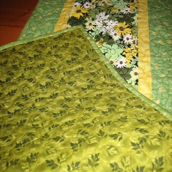 Quilted Table Runner Spring Mint Green and Yellow Flowers