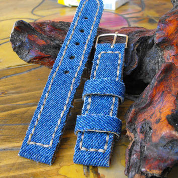 Watch strap Denim, hand made jeans canvas strap 20 mm, fashion strap watch