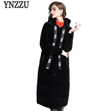 YNZZU New Fashion 2017 Winter Women's Down Jacket Vintage Velvet Letter Drawstring Hooded Thick Warm Duck Down Coat Parka YO403