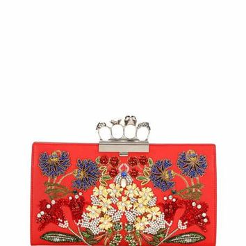 Alexander McQueen Knuckle Beaded Leather Flat Clutch Bag