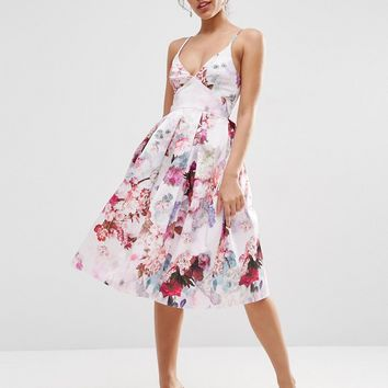 ASOS Strappy Midi Prom Dress In Lilac Floral at asos.com