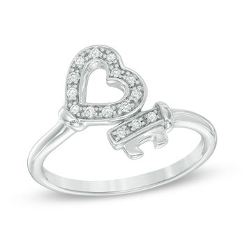 1/10 CT. T.W. Diamond Heart-Top Key Wrap Ring in Sterling Silver