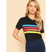 Striped Print Front Tee