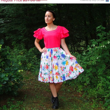 20% OFF SALE 1960's Hot Pink & White Floral Square Dancing Dress. Swing Dress. Rockabilly. Medium Large 10 12