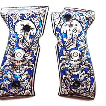 Mother of Pearl Inlay Beretta 92fs Grips Blue Skull