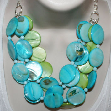 Ocean Blue & Lime Green Shell Statement Necklace, Mother Of Pearl Big Bead Jewelry, Chunky Beach Wedding Necklace, Big Bold Summer Jewelry