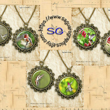 Colorful Hummingbirds Drawing & Glow Art - - Digital Collage Sheets - 1.5 inch Circles for Jewelry Makers, Wedding Projects, Crafts