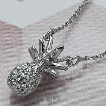 Rhodium Layered Women Pineapple Fancy Necklace, with White Crystal, by Folks Jewelry
