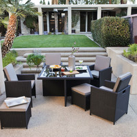 Modern 4-Seat Nesting Outdoor Dining Patio Furniture Set in Brown Wicker Resin
