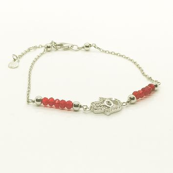 Red Beads Hamsa Evil Eye Bracelet