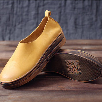 Handmade Leather Platform Shoes for Women, Casual Shoes, Soft Shoes,Slip on,Loafer Shoes, Brown/Green