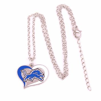 Detroit Lions Drop shipping Enamel single-sided Swirl Heart Football team logo charm with link chain sports Necklace