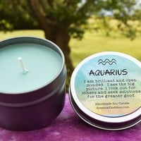 AQUARIUS Candle Jan 20 - Feb 18, The Water Bearer Zodiac Symbol