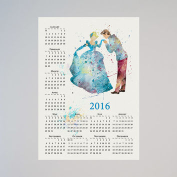 Cinderella Prince Charming Personalized Calendar 2016 Disney Watercolor Picture Print Save the date gift New Year Birthday present