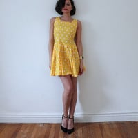 SALE vintage 80s Yellow + White Polka Dot Open Back w. BOW Cotton Babydoll Mini Dress XS