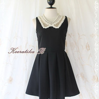 Peter Pan Pastel Dress - Cutie Black Simply Dress Peter Pan Lace Collar Pleated Skirt Party Cocktail Bridesmaid Wedding Dress