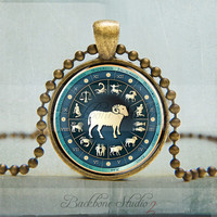 Zodiac Capricorn Pendant, Capricorn Necklace, Capricorn Jewelry, Sign of the Zodiac Jewelry (1084)