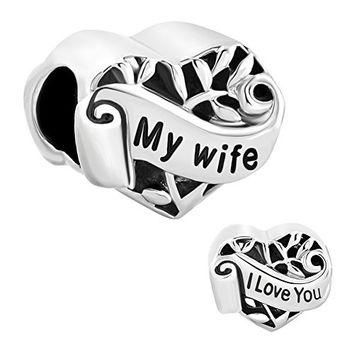 Christmas Gifts Silver Plated Heart I Love You My Wife Charm New Sale Cheap Beads Fit