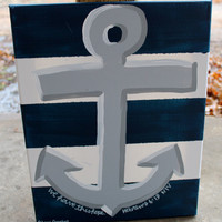 Anchors Ahoy! // Hebrews 6:19 // nautical stripes and anchor // 11x14 inch canvas