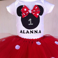 Minnie inspired bday outfit- Mickey tutu and Onesuit/shirt- red polka for tutu and Minnie head