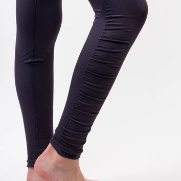 New* High Waist Ruched Detail Compression Yoga Leggings - Gray