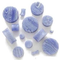 PAIR-BLUE LACE AGATE Ear gauges -Ear Plugs-Flesh Ear Tunnels-Organic Ear Gauges