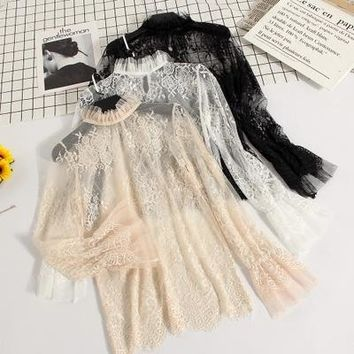 Freeship ladies vintage casual ruffled  stand collar lace top with inside top/t shirt flare
