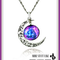 Sterling Silver Moon Glass Galaxy Necklace & Pendants