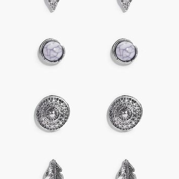 Libby Evil Eye & Feather Stud 4 Earring Set | Boohoo