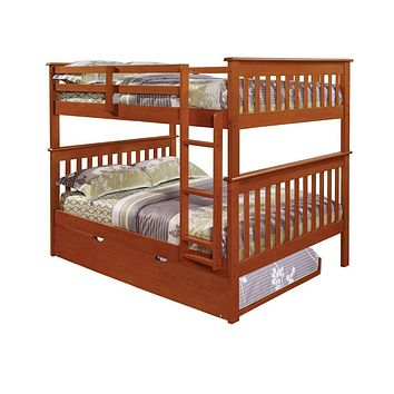 Zachary Full Espresso Bunk Beds for Kids with Trundle