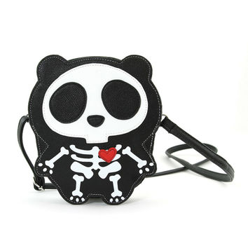 Cute Little Spooky Skeleton Panda Bear Bag Purse