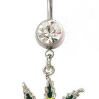 Colorful Marijuana Belly Button Ring