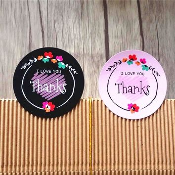80pcs Black Pink Flower Thanks I LOVE YOU sealing label Adhesive Kraft Sticker for Baking Round Gift Stickers Funny DIY Work