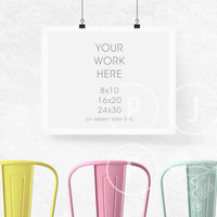 styled frame mockup, hanging frame mockup, kids room mockup, 8x10 16x20 24x30 landscape, white frame mockup, styled stock photo, 3 chairs
