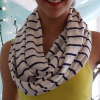 Knit Fabric Infinity Scarf. Semi Sheer Light Weight Spring Scarf. Navy and White.