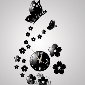 decorative butterfly and flower Shatterproof black color large wall clock modern birthday gift