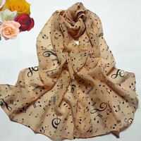 "57"" Women Chiffon Wrap Music Musical Note Printed Muffler Scarf Shawl Stole Beige Black White = 1958085252"