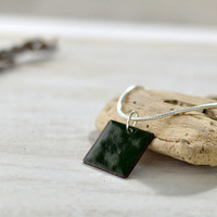 Small dainty necklace - dark green enamel pendant - square minimalist pendant - copper and sterling silver - artisan jewelry by Alery