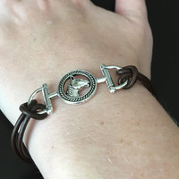 Horse Bracelet, Equestrian Bracelet, Dark Brown Leather Bracelet, Snaffle Bit and Horse, Simple Bracelet, One Size Fits All