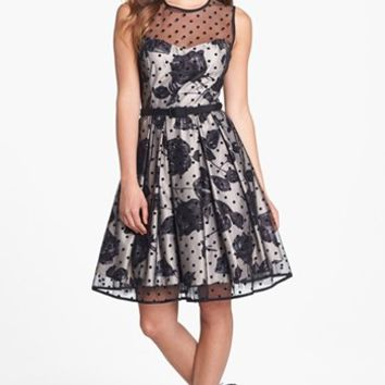 Eliza J Illusion Dot Print Fit & Flare Dress (Regular & Petite) | Nordstrom