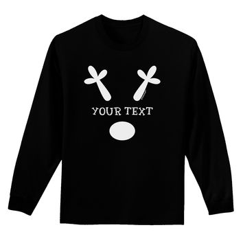 Personalized Matching Reindeer Family Design - Your Text Adult Long Sleeve Dark T-Shirt