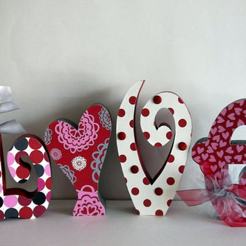 Set of 10 LARGE wood letters customized for your decor personalized gift home decor  Upper and lower case available.