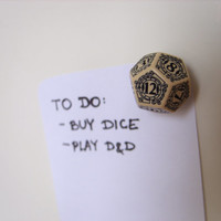 D12 steampunk dice magnet dungeons and dragons fridge magnet dice accessories steam punk rpg geek geekery tabletop game gamer beige black